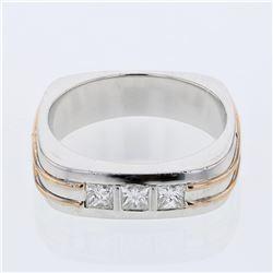 0.49 CTW Princess Diamond Ring 14K 2Tone Gold - REF-151W4H