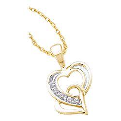 0.05 CTW Diamond Double Joined Heart Pendant 10KT Yellow Gold - REF-12W2K