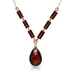 Genuine 4.35 ctw Garnet Necklace Jewelry 14KT Rose Gold - REF-30K7V