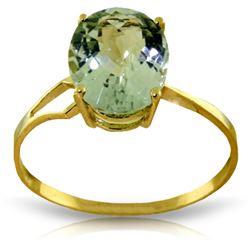 Genuine 2.2 ctw Green Amethyst Ring Jewelry 14KT Yellow Gold - REF-27V8W