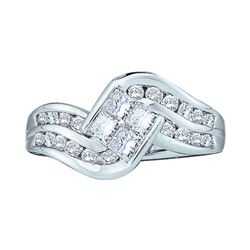 1 CTW Princess Diamond Cluster Ring 14KT White Gold - REF-87X2Y