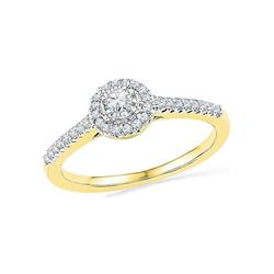 0.25 CTW Diamond Solitaire Halo Promise Bridal Ring 10KT Yellow Gold - REF-22N4F