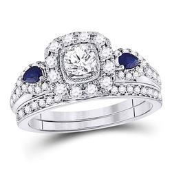 1.06 CTW Blue Sapphire & Diamond Ring 14KT White Gold - REF-183M9Y
