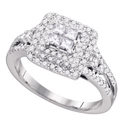 0.76 CTW Princess Diamond Invisible-set Bridal Engagement Ring 14k White Gold - REF-89X9Y