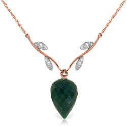 Genuine 12.92 ctw Green Sapphire Corundum & Diamond Necklace Jewelry 14KT Rose Gold - REF-42T2A