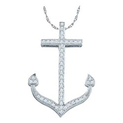 0.15 CTW Diamond Anchor Nautical Ocean Pendant 10KT White Gold - REF-18M2H