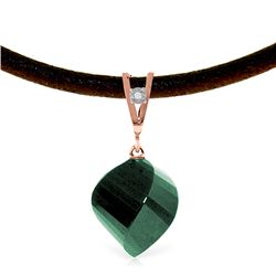 Genuine 15.26 ctw Green Sapphire Corundum & Diamond Necklace Jewelry 14KT Rose Gold - REF-49R8P