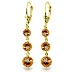 Genuine 7.2 ctw Citrine Earrings Jewelry 14KT Yellow Gold - REF-42R6P