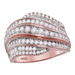 1.06 CTW Diamond Fashion Ring 14KT Rose Gold - REF-123F8N