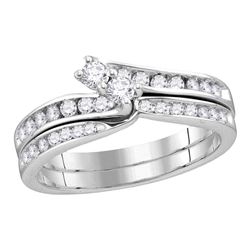0.50 CTW Diamond 2-Stone Hearts Together Bridal Ring 14KT White Gold - REF-71X3Y