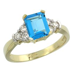 Natural 1.48 ctw swiss-blue-topaz & Diamond Engagement Ring 10K Yellow Gold - REF-43K3R
