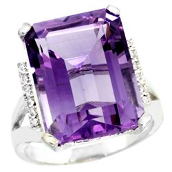 Natural 12.13 ctw Amethyst & Diamond Engagement Ring 14K White Gold - REF-71W2K