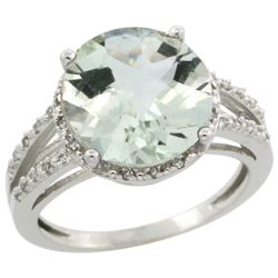 Natural 5.34 ctw Green-amethyst & Diamond Engagement Ring 14K White Gold - REF-45H5W