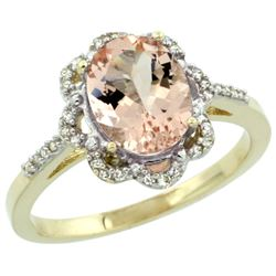 Natural 1.8 ctw Morganite & Diamond Engagement Ring 14K Yellow Gold - REF-47R7Z
