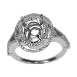 0.44 CTW Diamond Semi Mount Ring 14K White Gold - REF-42R2K