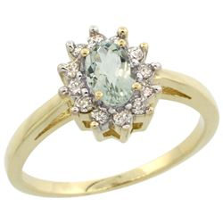Natural 0.67 ctw Green-amethyst & Diamond Engagement Ring 14K Yellow Gold - REF-48K6R