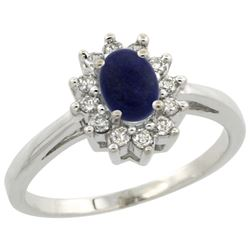 Natural 0.67 ctw Lapis & Diamond Engagement Ring 14K White Gold - REF-47N7G
