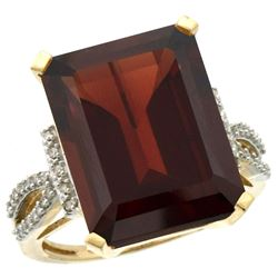Natural 12.14 ctw Garnet & Diamond Engagement Ring 14K Yellow Gold - REF-81Z3Y