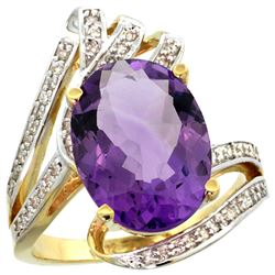 Natural 5.76 ctw amethyst & Diamond Engagement Ring 14K Yellow Gold - REF-92M7H