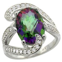Natural 6.22 ctw mystic-topaz & Diamond Engagement Ring 14K White Gold - REF-134H9W