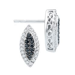 0.33 CTW Black Color Diamond Oval Cluster Screwback Earrings 10KT White Gold - REF-25W4K
