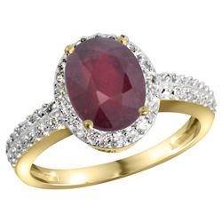 Natural 2.3 ctw Ruby & Diamond Engagement Ring 10K Yellow Gold - REF-55A4V