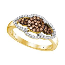 0.35 CTW Cognac-brown Color Diamond Cluster Ring 10KT Yellow Gold - REF-25X4Y