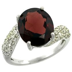 Natural 6.45 ctw garnet & Diamond Engagement Ring 14K White Gold - REF-62Z3Y
