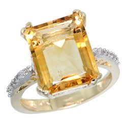 Natural 5.48 ctw Citrine & Diamond Engagement Ring 14K Yellow Gold - REF-51W4K