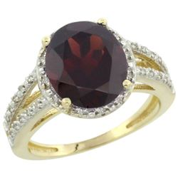 Natural 3.47 ctw Garnet & Diamond Engagement Ring 14K Yellow Gold - REF-50N3G