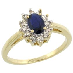 Natural 0.86 ctw Blue-sapphire & Diamond Engagement Ring 14K Yellow Gold - REF-56N2G