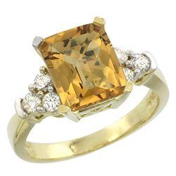 Natural 2.86 ctw whisky-quartz & Diamond Engagement Ring 14K Yellow Gold - REF-64M7H