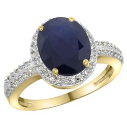 Natural 2.56 ctw Blue-sapphire & Diamond Engagement Ring 14K Yellow Gold - REF-102A7V
