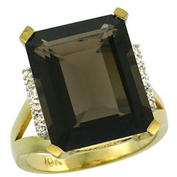 Natural 12.13 ctw Smoky-topaz & Diamond Engagement Ring 14K Yellow Gold - REF-71Y2X
