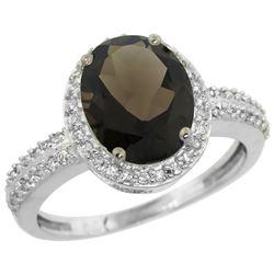 Natural 2.56 ctw Smoky-topaz & Diamond Engagement Ring 14K White Gold - REF-42W2K