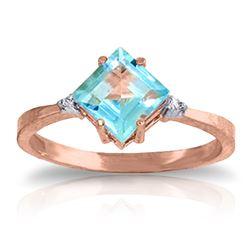 Genuine 1.77 ctw Blue Topaz & Diamond Ring Jewelry 14KT Rose Gold - REF-28H8X