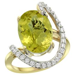 Natural 5.89 ctw Lemon-quartz & Diamond Engagement Ring 14K Yellow Gold - REF-89F3N