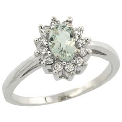 Natural 0.67 ctw Green-amethyst & Diamond Engagement Ring 14K White Gold - REF-48H6W