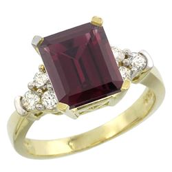 Natural 2.86 ctw rhodolite & Diamond Engagement Ring 10K Yellow Gold - REF-53M5H