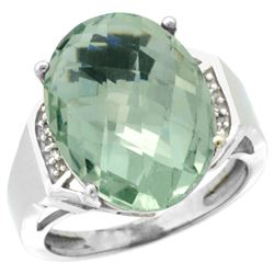 Natural 11.02 ctw Green-amethyst & Diamond Engagement Ring 14K White Gold - REF-65X8A