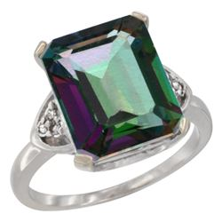 Natural 5.44 ctw mystic-topaz & Diamond Engagement Ring 14K White Gold - REF-45W5K
