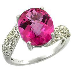 Natural 6.45 ctw pink-topaz & Diamond Engagement Ring 14K White Gold - REF-54N3G