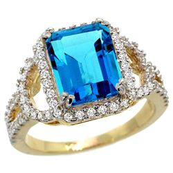 Natural 3.08 ctw swiss-blue-topaz & Diamond Engagement Ring 14K Yellow Gold - REF-106Y3X