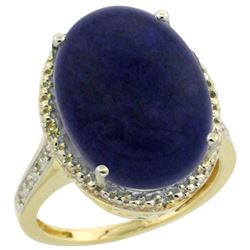 Natural 9.49 ctw Lapis & Diamond Engagement Ring 10K Yellow Gold - REF-42A9V