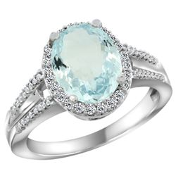 Natural 3.42 ctw aquamarine & Diamond Engagement Ring 14K White Gold - REF-70A5V