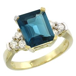 Natural 2.86 ctw london-blue-topaz & Diamond Engagement Ring 14K Yellow Gold - REF-66V2F