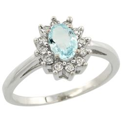 Natural 0.67 ctw Aquamarine & Diamond Engagement Ring 14K White Gold - REF-49Y9X