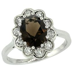 Natural 2.34 ctw Smoky-topaz & Diamond Engagement Ring 10K White Gold - REF-69Z8Y