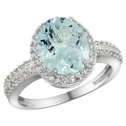 Natural 2.56 ctw Aquamarine & Diamond Engagement Ring 14K White Gold - REF-52M2H