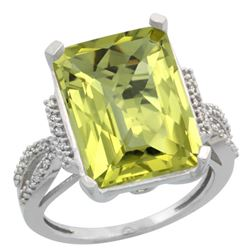 Natural 12.14 ctw Lemon-quartz & Diamond Engagement Ring 10K White Gold - REF-49W2K